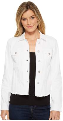 NYDJ Denim Jacket w/ Fray Hem in Optic White Women's Jacket