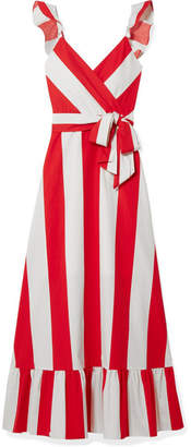 Alice + Olivia Alice Olivia - Fernanda Ruffled Striped Cotton-poplin Maxi Dress - Red