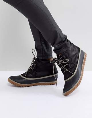 Sorel Out N About Black Leather Waterproof Flat Boots