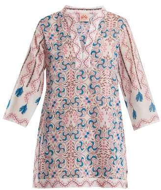 Le Sirenuse Le Sirenuse, Positano - Giada Kantha Shell Print Long Sleeved Dress - Womens - Pink Print