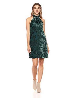 Trina Turk Women's Spree Burnout Velvet Mock Neck Dress