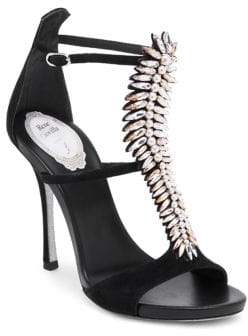 Rene Caovilla Crystal Leather T-Strap Pumps