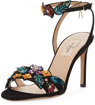 Valentino Metallic Pop Flowers Suede d'Orsay Sandal
