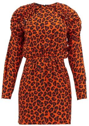 MSGM Ruffled Leopard Print Crepe Mini Dress - Womens - Orange