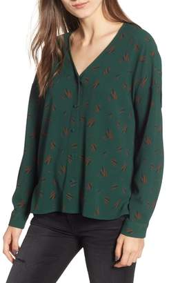 ALL IN FAVOR Print Button Up Blouse