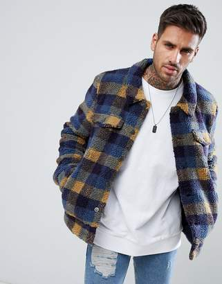 Asos Borg Western Jacket In Blue Check