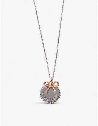 Olivia Burton Vintage coin and bow silver and 18ct rose-gold necklace