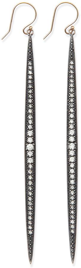 Mizuki Shadow Silver Diamond Icicle Earrings