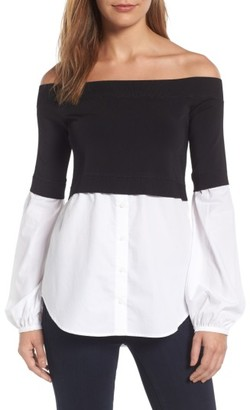Women's Trouve Off The Shoulder Poplin Sweater $89 thestylecure.com