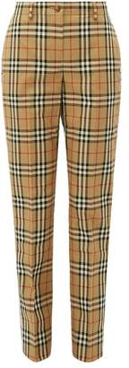Burberry Two Tone Checked Cotton Straight Leg Trousers - Womens - Beige Multi