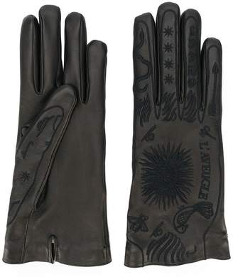Gucci embroidered leather gloves