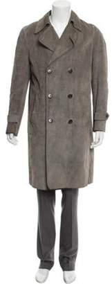 Maison Margiela Leather Double-Breasted Overcoat grey Leather Double-Breasted Overcoat