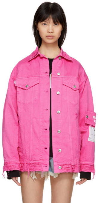 Pink Oversized Pocket Denim Jacket