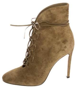 Gianvito Rossi Lace-Up Suede Ankle Boots w/ Tags Olive Lace-Up Suede Ankle Boots w/ Tags