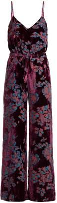 Saloni Loretta floral-print devoré-velvet jumpsuit