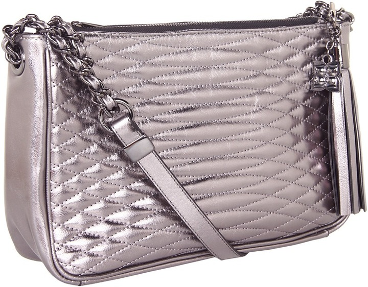 BCBGMAXAZRIA Curve Quilt Shoulder (Pewter) - Bags and Luggage