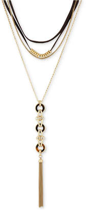 "Lucky Brand Gold-Tone Tortoise-Look Multi-Layer Choker Lariat Necklace, 13-1/2""+ 1"" extender"