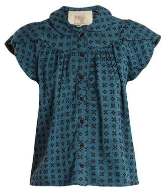 Ace&Jig Monet Ruffle Sleeved Geometric Jacquard Cotton Top - Womens - Blue
