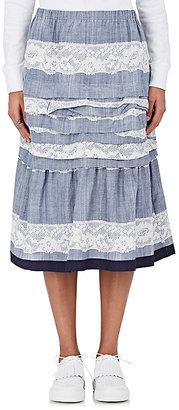 tricot Comme des Garcons Women's Lace-Graphic Ruffle Skirt $910 thestylecure.com