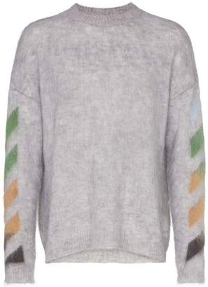 Off-White Mohair Stripe Detail Sweater