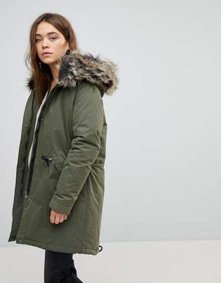 Only Down Parka With Faux Fur Hood