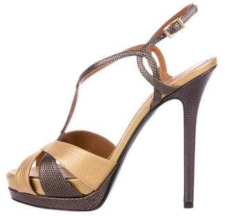 Fendi Embossed Leather Platform Sandals