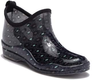 Capelli of New York Dials and Dots Printed Rubber Ankle Rain Boot
