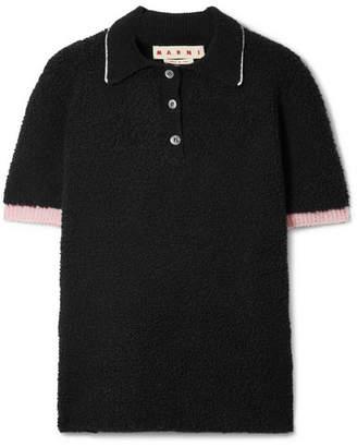Marni Wool-blend Bouclé Polo Shirt - Black