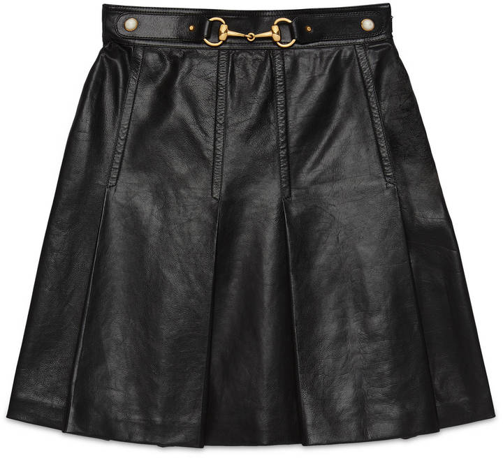 Gucci Leather pleated skirt