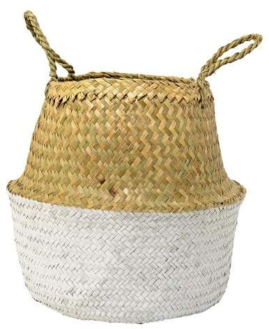 3R Studios Seagrass Basket With Handles - Natural & White