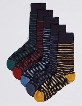 Marks and Spencer 5 Pack Cool & FreshfeetTM Striped Socks