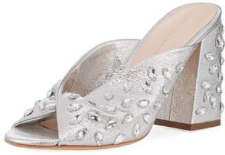 Loeffler Randall Laurel Crinkle Metallic Mule Sandal with Jewels