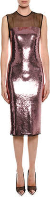 Tom Ford Sleeveless Liquid Sequin Cocktail Dress with Illusion