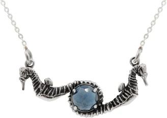 Lee Renee Seahorse Blue Topaz Necklace Silver