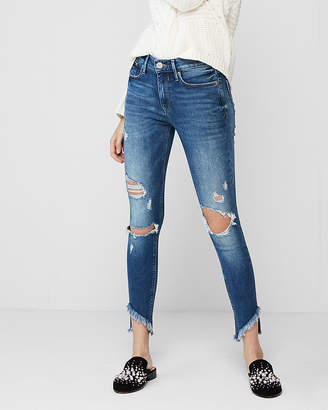 Express Mid Rise Destroyed Stretch Ankle Jean Leggings