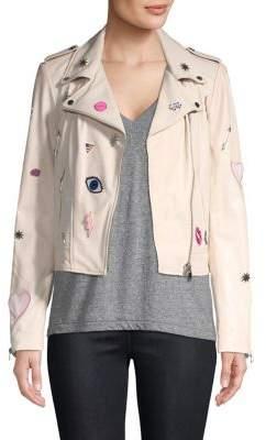 LAMARQUE Donna Rock Patch Leather Biker Jacket