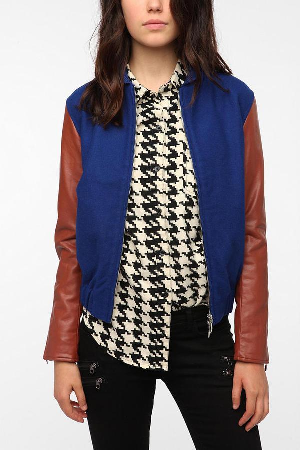 Wesc Edif Faux Leather Mix Bomber Jacket