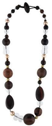 Viktoria Hayman Wood & Faux Pearl Long Beaded Necklace