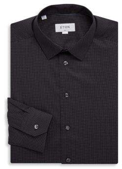 Eton Slim Fit Dotted Cotton Dress Shirt