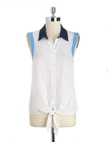 Vince Camuto TWO BY Silk Tie-Front Shirt