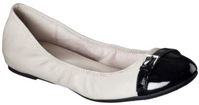 Merona Women's Ellie Genuine Leather Cap Toe Flat with Buckle - Cream/Black