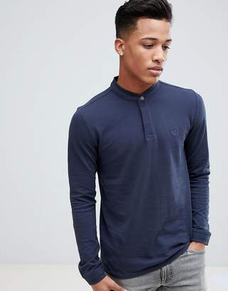 Esprit Long Sleeve Polo With Grandad Collar