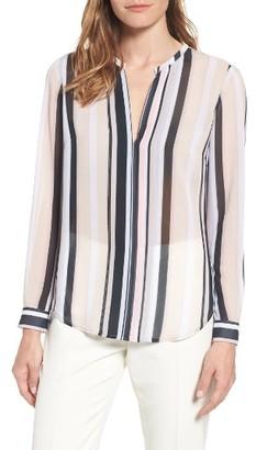Women's Anne Klein Stripe Sheer Blouse $79 thestylecure.com