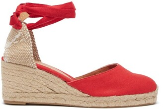 Castaner Carina 60 Canvas And Jute Espadrille Wedges - Womens - Red