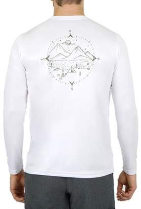 """Mountain And Isles Men's Mountain and Isles """"Compass"""" Long Sleeve UV Sun Protection Graphic Tee"""