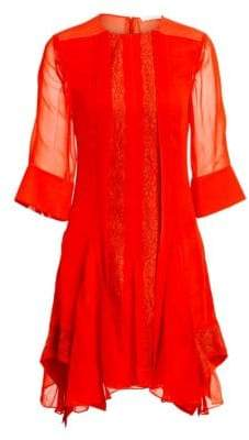 Chloé Lace Inserts Elbow Sleeve Dress