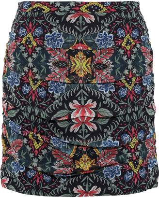 Rebecca Minkoff Adalynn Ruched Floral-print Georgette Mini Skirt