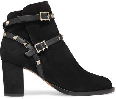 Valentino - Rockstud Leather-trimmed Suede Ankle Boots - Black