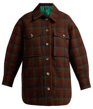 Isabel Marant Harvey Oversized Checked Wool Jacket - Womens - Brown Multi