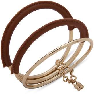Lauren Ralph Lauren Goldtone Leather-Wrapped Triple Bangle Bracelet